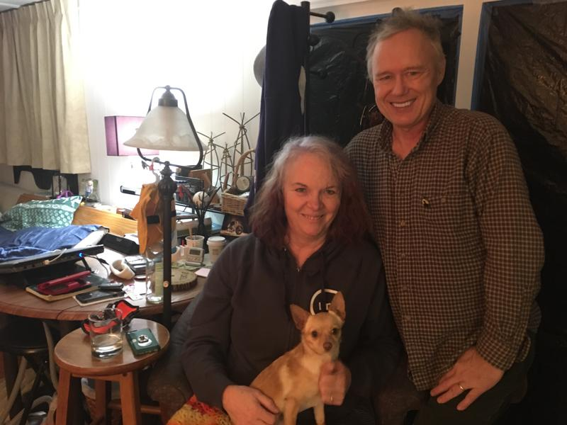 Daniel, Mary and Buttercup Bone, in their trailer home in Seatac.