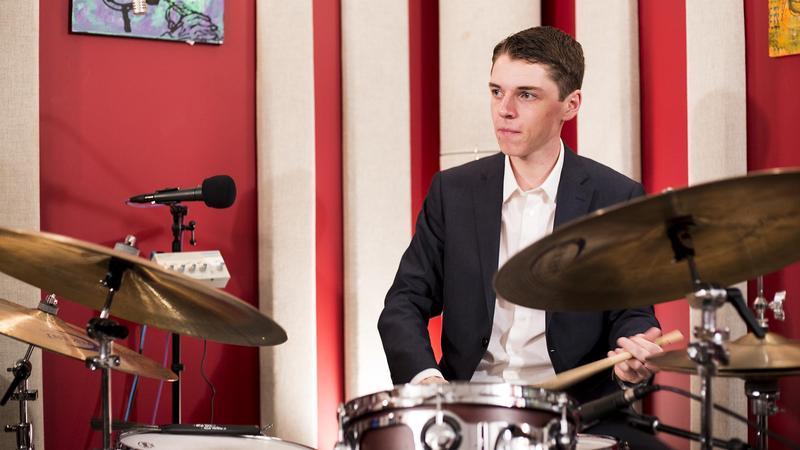 Ryan Leppich in the KNKX Studios.