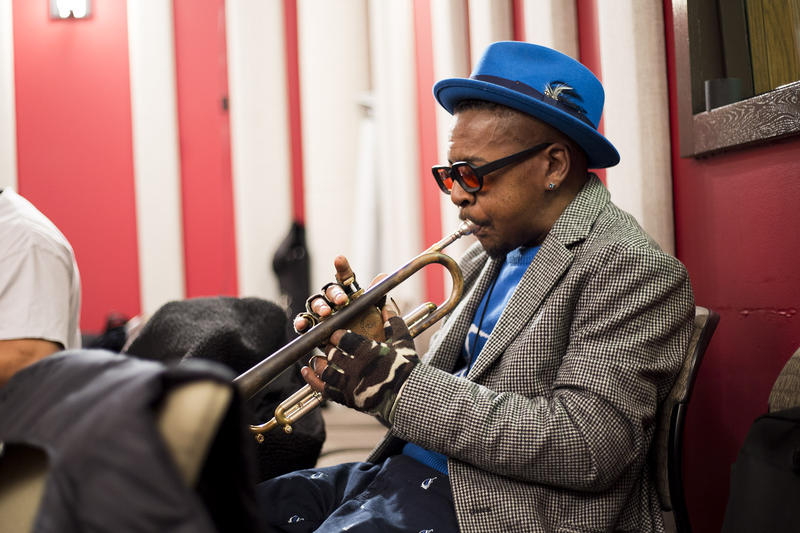 Roy Hargrove practicing 'The Seattle Vibe' before the start of his live performance in the KNKX studios.