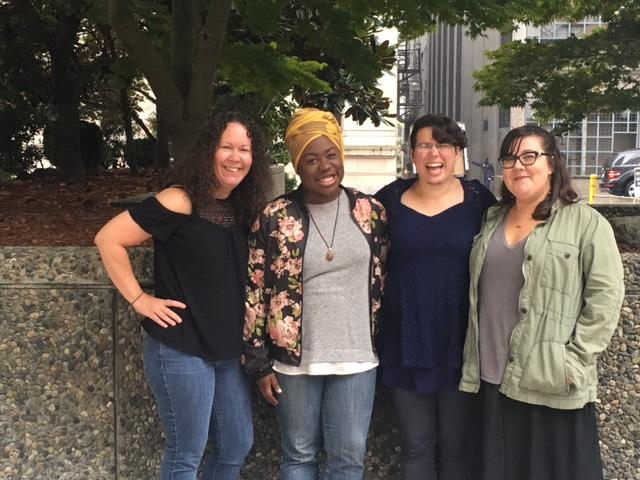 The women who work for Babes, from left to right: Nicole Price, Tranisha Arzah, Julia Rosenfeld and  Alora Gale-Schreck.  Babes Network is an organization for women living with HIV, run by women with HIV.