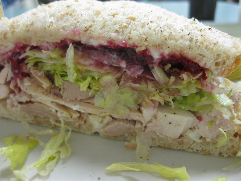 """Turkey with cran"" at Bakeman's Restaurant in Seattle. Comfort food near the King County Courthouse."