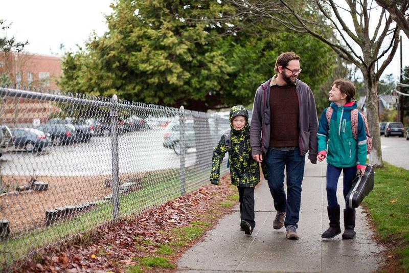 Elliott, Paul and Frances Bugala outside Gatewood Elementary in West Seattle