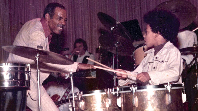 Percussionist Willie Bobo (1934-1983)  and his son Eric