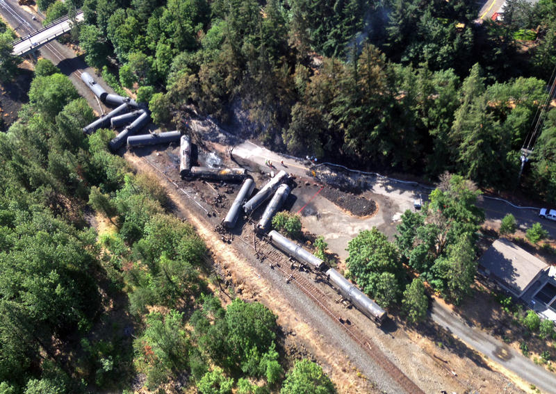 This file photo from June 2016 shows scattered and burned oil tank cars after a train derailed near Mosier, Ore. Among the WEC enviromental priorities for 2018 is an Oil Spill Prevention Act.