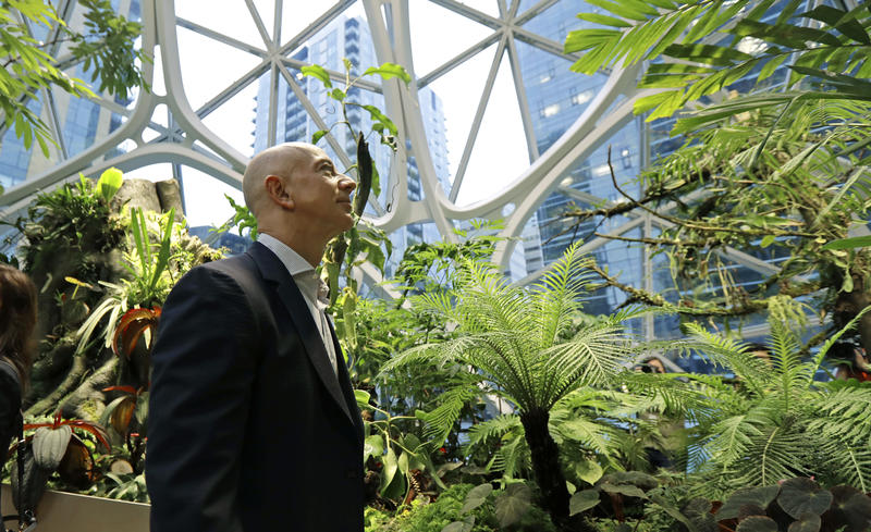 Jeff Bezos, the CEO and founder of Amazon.com, takes a walking tour of the Amazon Spheres, three plant-filed geodesic domes that serve as a work- and gathering place for Amazon employees, following a grand opening ceremony, Monday, in Seattle.