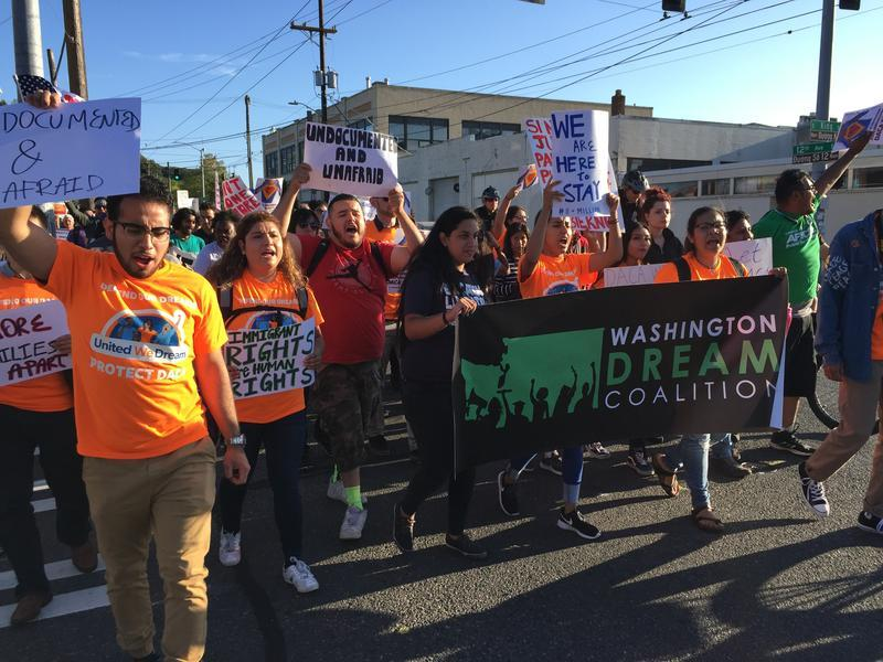 DACA recipients and supporters march in Seattle on Aug. 15