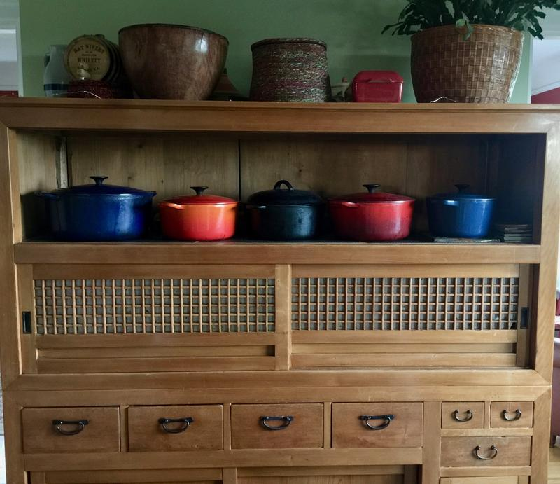 Just some of Nance's enamelware, many of which she picked up cheap at thrift stores.  Black one, 3rd from left is Mac's  grandmother's hundred year old cast iron.