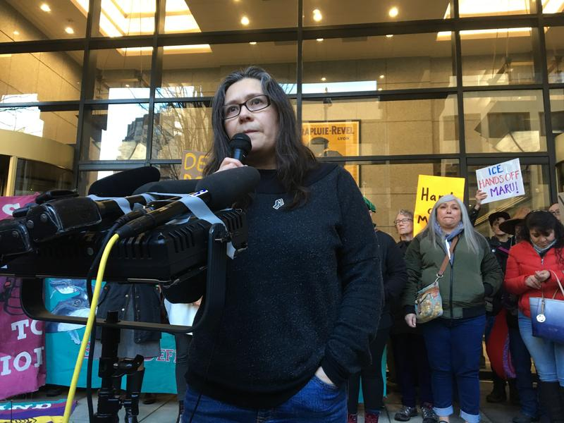 Maru Mora Villalpando speaks at a news conference in Seattle on Jan. 16, 2018
