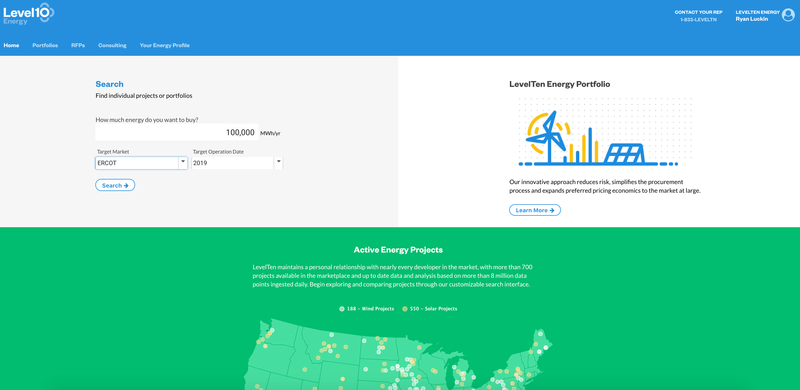 LevelTen Energy's home page for potential investors