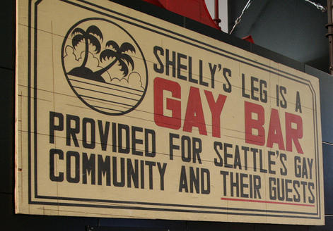 The original sign from Shelly's Leg, now at MOHAI.