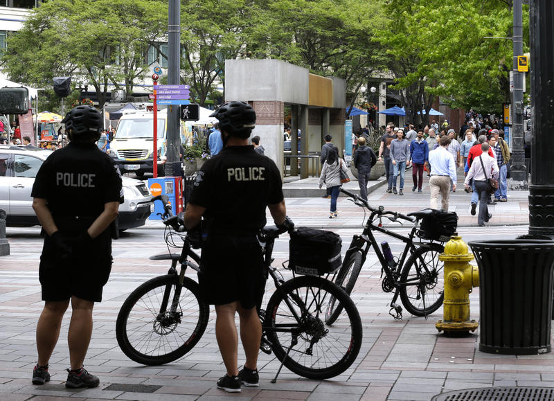 Seattle Police officers on patrol in downtown Seattle, July 8, 2016.