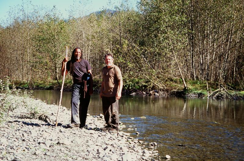 Rosette Royale and Bryant Carlin, on the banks of the Queets River in Olympic National Park