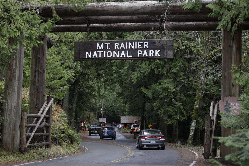The west entrance to Mount Rainier National Park is shown in  2012. Environmentalists say the park would not be what it is today without support for acquisitions over the years from the U.S. Land and Water Conservation Fund.