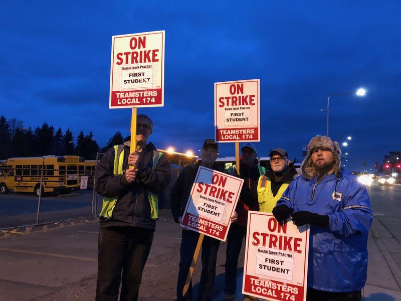 School bus drivers on strike in Seattle