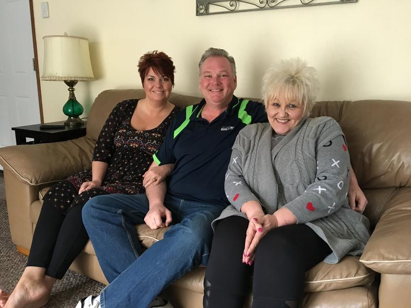 From left: Tina Goss, Bret Goss, and Darlene Goss in Tina and Bret's Chehalis, Wash., home