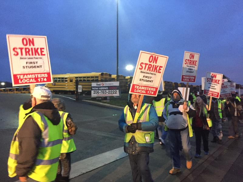 Seattle school bus drivers during a one-day strike in November.