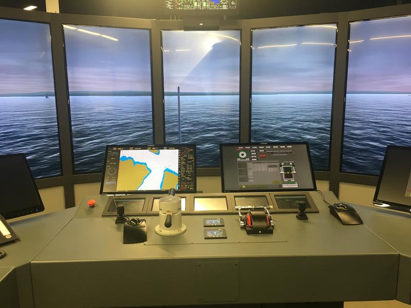 The bridge simulator at the Seattle Maritime Academy helps train ferry pilots and navigators.