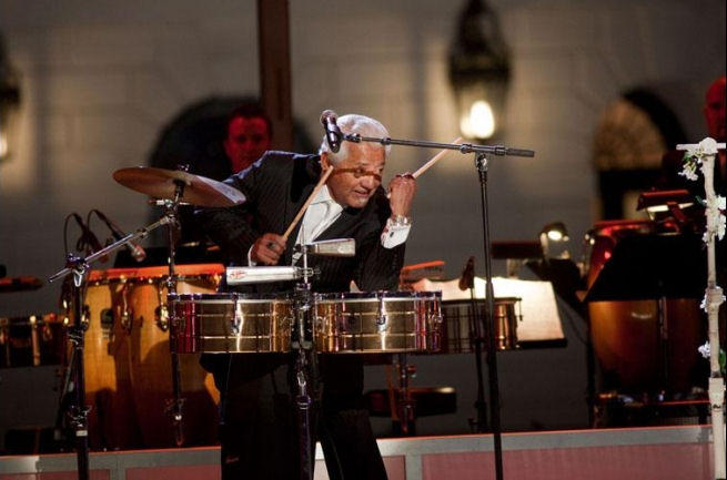 Percussionist Pete Escovedo performs at the