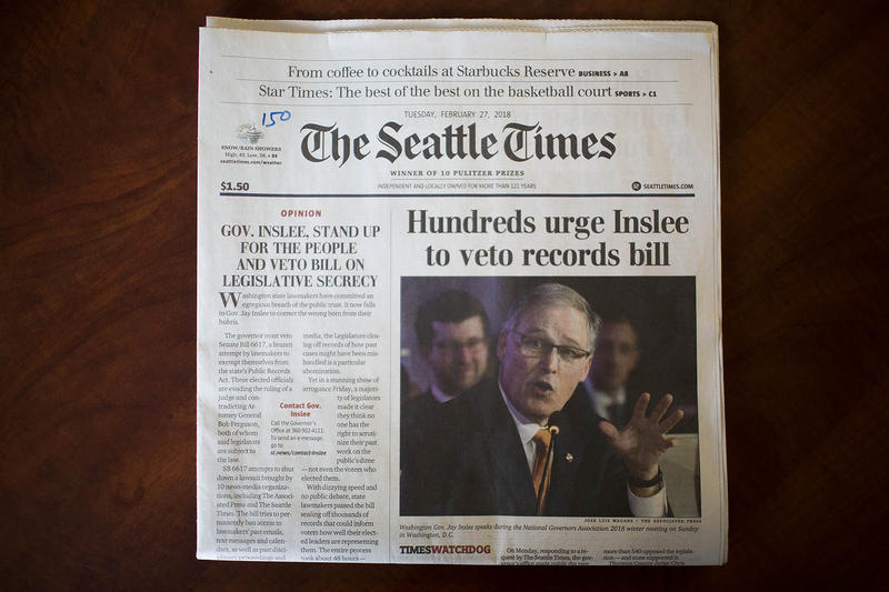 Newspapers across the state, including The Seattle Times, ran front page editorials urging Gov. Jay Inslee to veto a bill exempting state lawmakers from the state's Public Records Act.