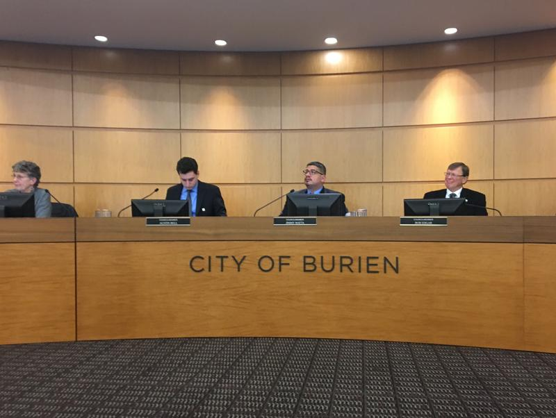 Burien City Council members at a January 2018 meeting
