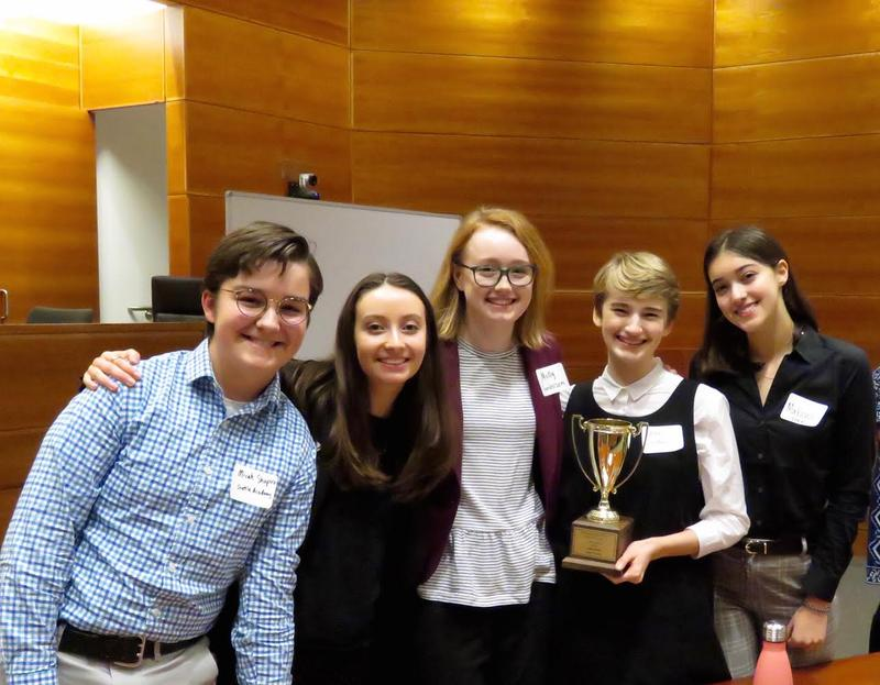 Molly Sanderson (middle) and her team from Seattle Academy, at the 2018 Ethics Bowl.