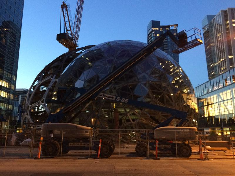 Sphere structures outside Amazon's headquarters in Seattle