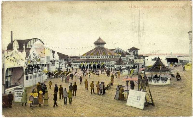 Postcards like this one advertised the fun to be had at Luna Park. This one shows the boardwalk and pavilion.