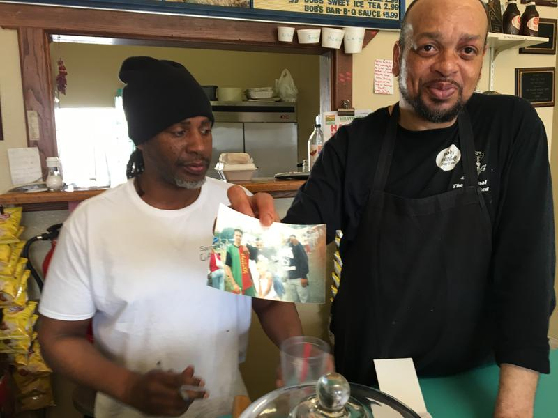 Jonathan Clark (left) who manages Bob's Bar-B-Q, and Paul Waller, who runs the kitchen, have been close friends since they were six years old