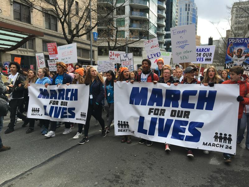 High school students led a 'March For Our Lives' rally through downtown Seattle on March 24, 2018