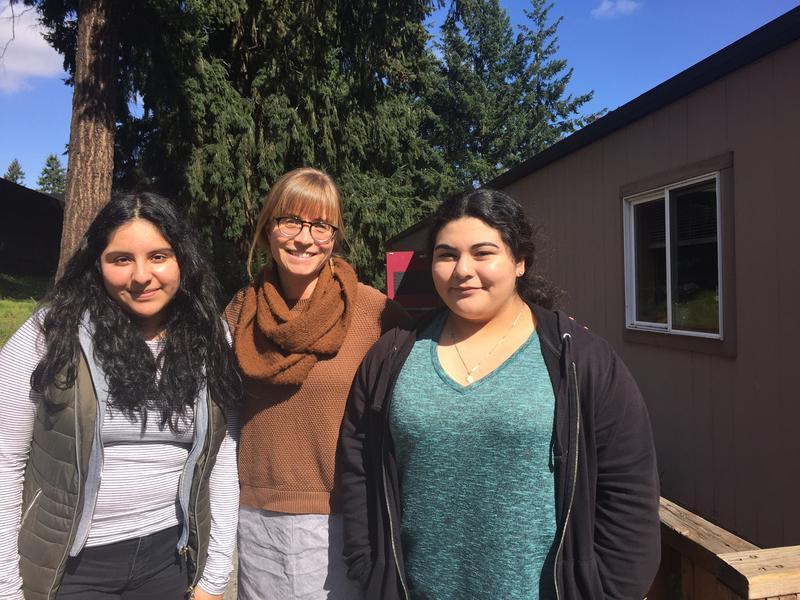 Wendy Salinas, left, with Tyee High School teacher Andi Newman, and fellow filmmaker Elisha Velazquez