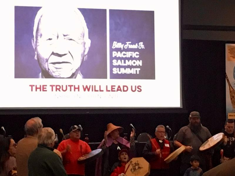 An image of Billy Frank Jr loomed large in the conference room at Tulalip Resort and Casino Monday , site of the first annual Pacific Salmon Summit meeting named after him.