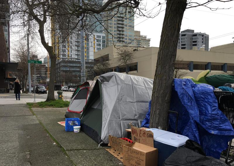 Tents occupied by people who are homeless in downtown Seattle