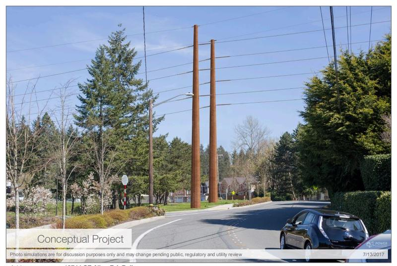This image from PSE's Energize Eastside website is a conceptual sketch of what one project will look like in South Bellevue. Click the slideshow to compare it to an existing image.