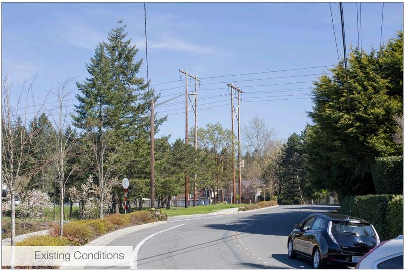 This image from PSE's Energize Eastside website shows the existing conditions of the South Bellevue location in the previous image.