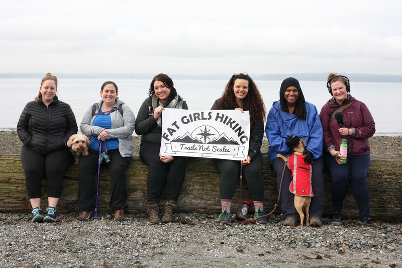 Fat Girls Hiking arrive at the water's edge in Carkeek Park.