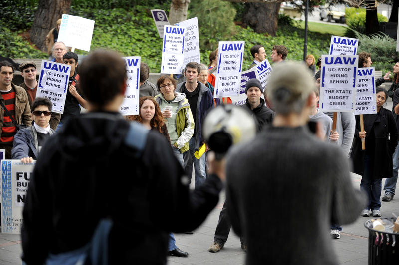 University of California system researchers, technicians, and post-doctoral scholars rally outside of campus in Berkley, Calif., in 2009. UC system postdocs have been unionized since 2009.
