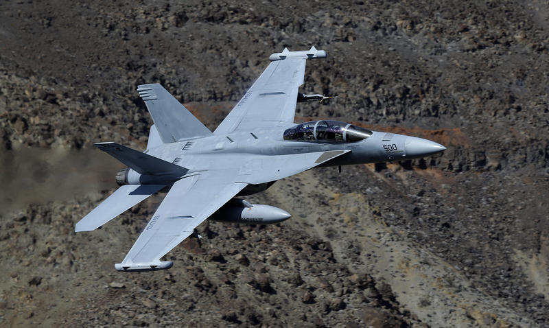 An EA-18G Growler from China Lake VX-9 Vampire squadron flies through the nicknamed Star Wars Canyon in Death Valley National Park, Calif. The low-flying combat aircraft skillfully zipping between the craggy landscape has become a popular attraction.