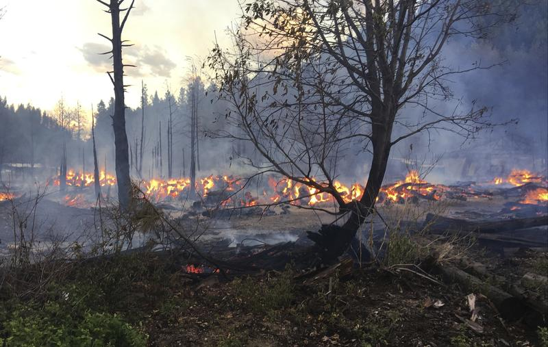 In this May 23, 2017 photo provided by Chelan County Fire District 3, logs burn near Leavenworth, Wash.  The wildfire prompted evacuation orders for homes and cabins at a popular Washington state hiking and skiing destination.