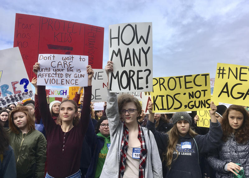 Students at Roosevelt High School take part in a protest against gun violence Wednesday, March 14, 2018, in Seattle.