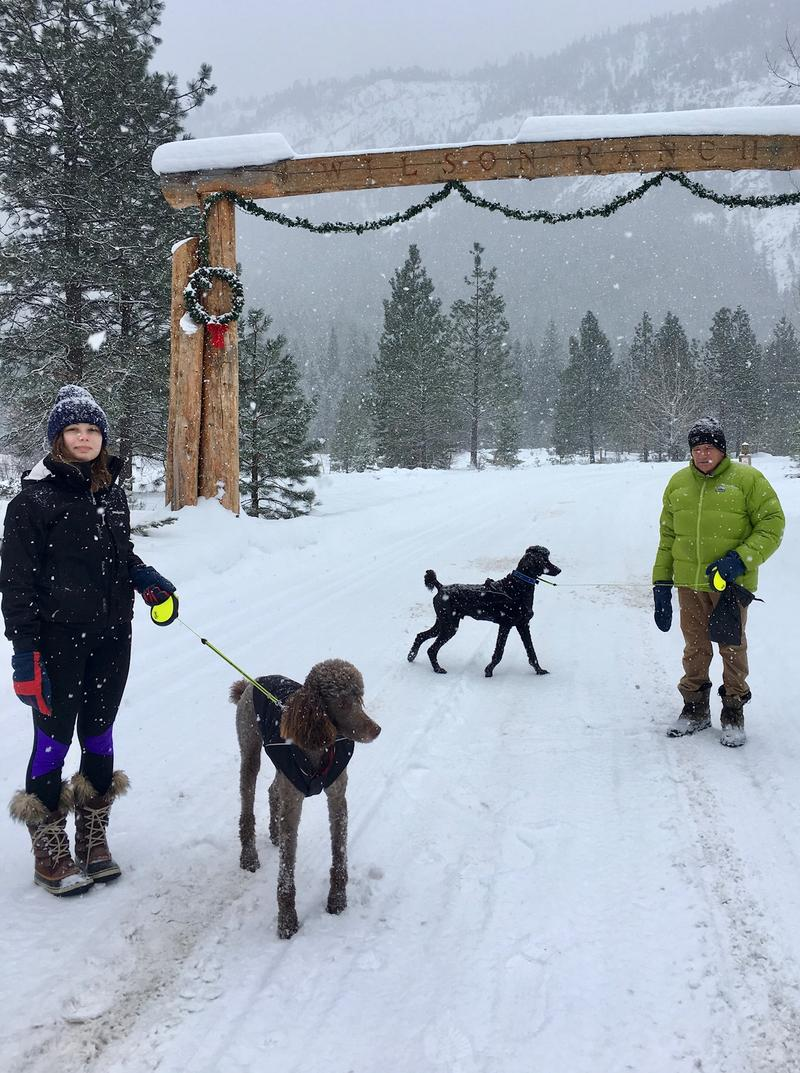 Darcy and Jerry Walker with Sasha and Bozzi in the Methow Valley.
