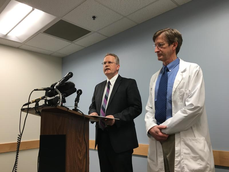 Chris Bredeson, left, president of MultiCare Good Samaritan Hospital, and David Bachman, the chief medical officer, speak at a news conference on April 30, 2018