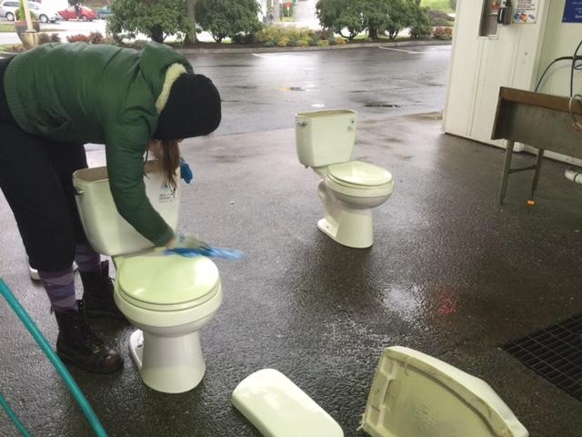 They moved the toilets, but first took them to the carwash.