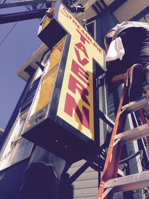 Installing the sign.