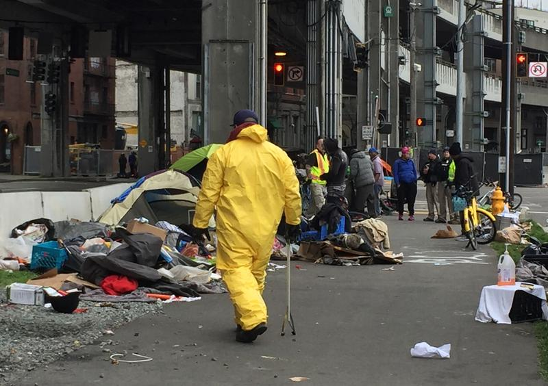 Seattle's Navagation Team carries out a removal of an illegal encampment under the Viaduct. Removals can not take place unless the city can offer shelter to people.