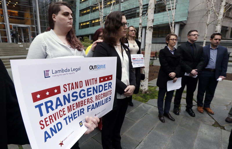 Plaintiffs in the transgender ban lawsuit outside the federal courthouse in Seattle on March 27, 2018