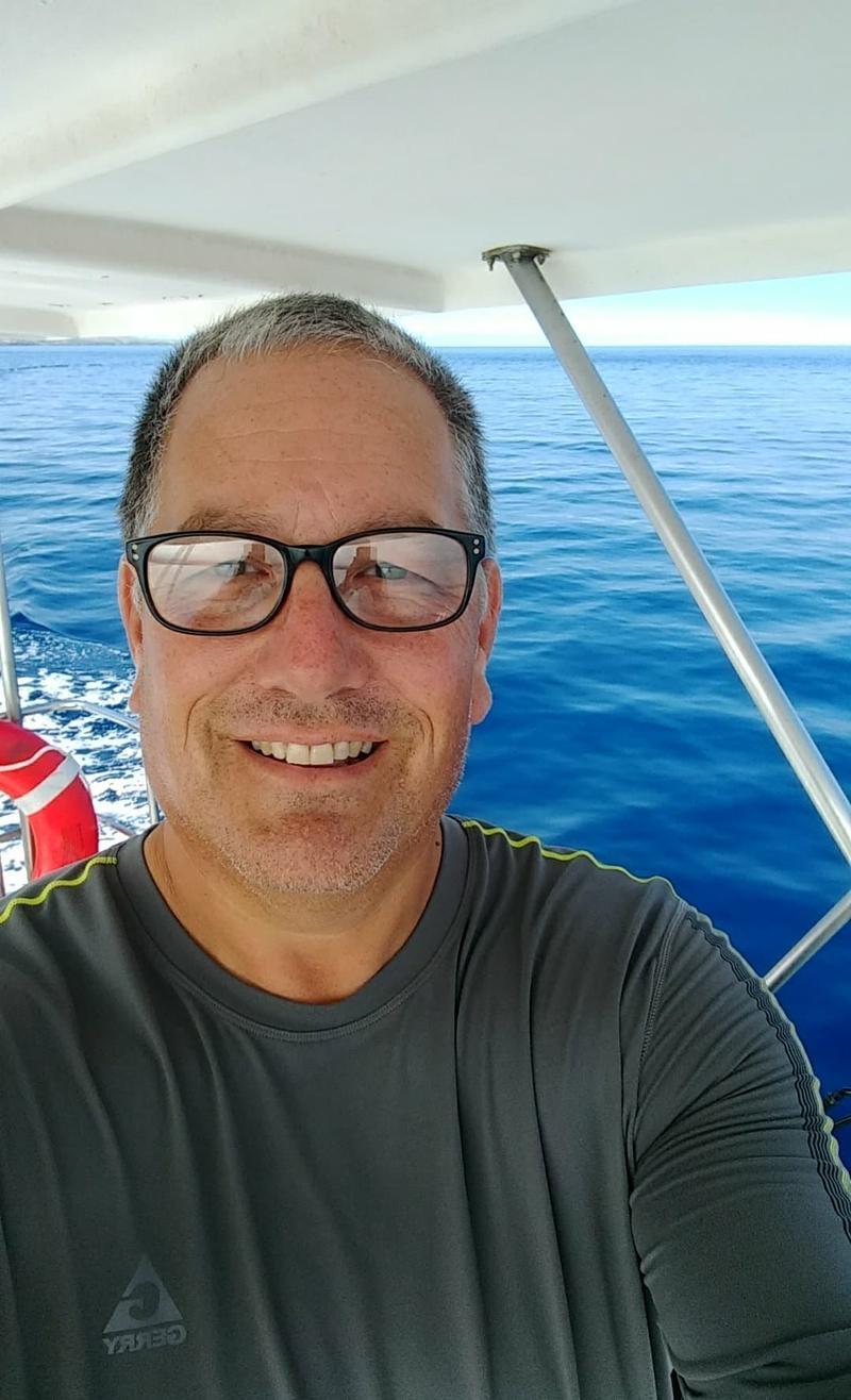 Carl Badgley aboard his boat.