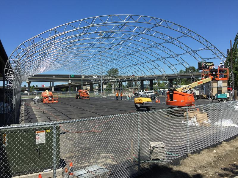 Tacoma's first legal tent city while under construction last year