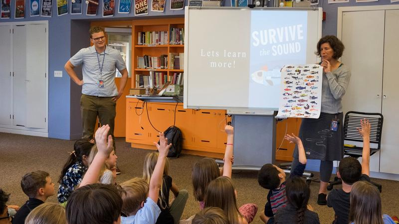 Lucas Hall visited Susan Foley's 1st and 2nd graders at University Child Development School in Seattle in 2017 to pilot Survive the Sound in the classroom.