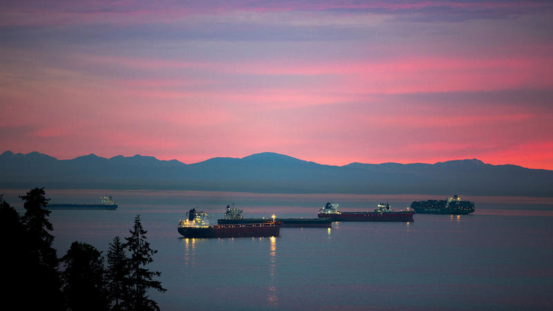 Tankers wait in Burrard Inlet near Vancouver, British Columbia.