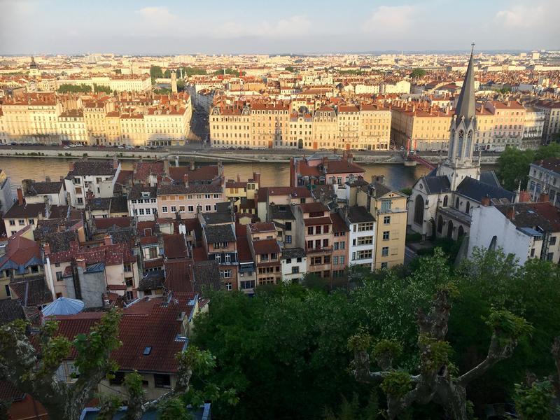 Sunset over Lyon, France.